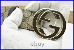 Authentic Gucci Supreme GG Monogram Canvas Men's Belt with Large Silver Buckle