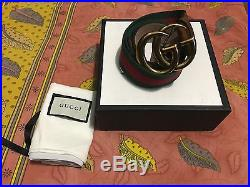 Authentic Gucci Web belt with double G buckle Men's size (33-34) 95cm 38in