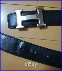 Authentic HERMES Belt Black Leather H Silver Buckle