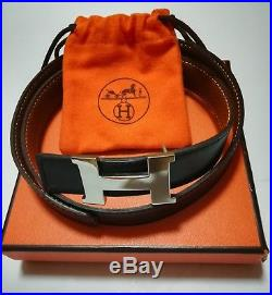 Authentic HERMES Belt Constance Leather H Silver Buckle Black Brown G 70