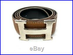 Authentic HERMES Constance Men's Belt Brown Leather Silver Buckle Size85 Used