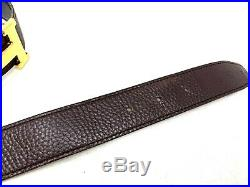 Authentic HERMES Constance Men's Belt Gold Buckle Brown Leather Size85 RankAB
