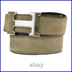 Authentic HERMES Constance Reversible H Buckle Belt Suede Leather # 85 39MG224