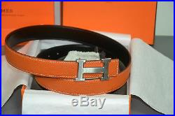 Authentic Hermes Reversible Belt Silver Brushed Buckle