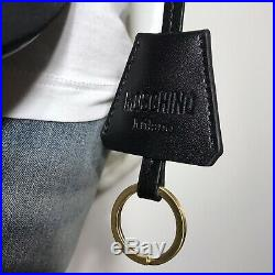 Authentic MOSCHINO Logo Black/Gold Adjustable Belt Bag Fanny Pack One Size NWT