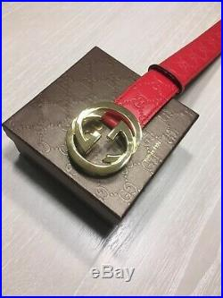 Authentic Men's Red Guccissima Gucci Gold GG Buckle Belt 95 cm fits 32-34 waist