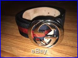 Authentic Mens Gucci Web belt with G buckle Belt Blue and Red Size 90/36