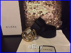 Authentic NWT Black Leather Gucci Belt with Double G Brass Buckle all Sizes