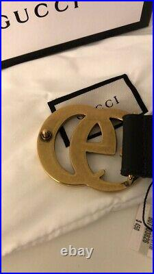 Authentic NWT Black leather Gucci with gold GG buckle size 100cm waist 34-36