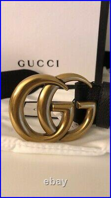 Authentic NWT Black leather Gucci with gold GG buckle size 95cm waist 32-34