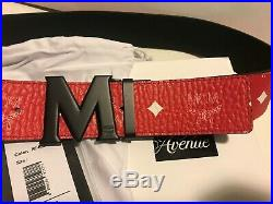 Authentic New Red MCM With Black Buckle Belt Waist 36-38 105/42 Belt Size