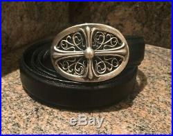 Authentic Rare Petite! Chrome Hearts Sterling Oval Cross Buckle With Black Belt