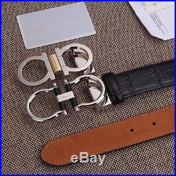 Authentic Salvatore Ferragamo Black Leather Belt With 2 Silver Buckles