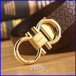 Authentic Salvatore Ferragamo brown belt with brown leather gold buckle