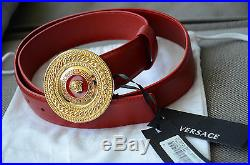 Authentic VERSACE Mens RED Two Tone Buckle Gold Medusa Belt size 95 fits 32-34