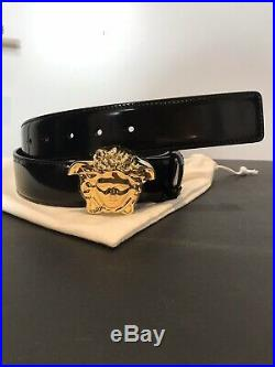 Authentic Versace Medusa Gold-tone Black Calf Leather Belt Size 40/100 NWT