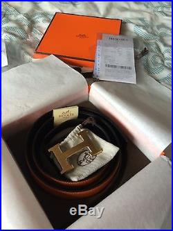 BNWT! 100% Authentic Hermes 32mm Belt Orange & Black. Gold Buckle. With Receipts