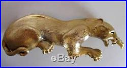 BUCKLE Vintage Christopher Ross 24k Gld Plated Crawling Panther Belt Buckle RARE
