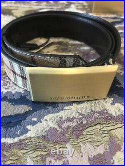 BURBERRY BELT FOR MEN/ 100% Calf Leather/ Golf Colour Buckle. Size/fit 110