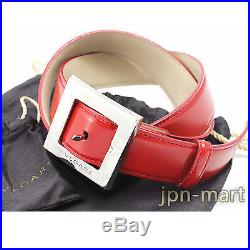 BVLGARI Square Buckle Leather Belt for Men from Japan