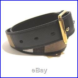 B-207105 New Burberry Tan Canvas/Black Leather Buckle Belt Size 34 Fits Waist 32