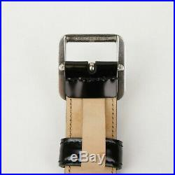 Balenciaga Men's Black Leather Belt withSilver Square Buckle 90/36 460333 1000