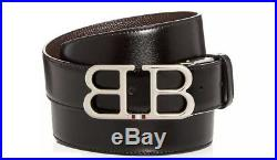 Bally Belt Buckle Reversible Leather Belt Black Brown Size 44 Authentic $395