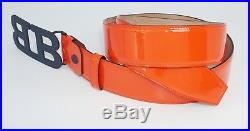 Bally Men's Mirror B Buckle Patent Calf Leather Adjustable Belt, Red, MSRP $395