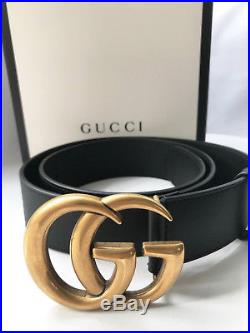Brand New Authentic Gucci Leather Belt With Double G (marmont) Buckle In Size 85