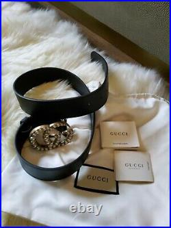 Brand New Gucci Belt Pearl Marmont Black Leather G buckle Size 85 cm Women