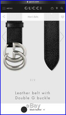 Brand New Gucci Mens Leather Belt Silver Double G Buckle. Cost £285. Size 100cm