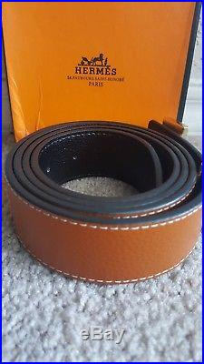 Brand New In Box Hermes Brown Genuine Leather Belt, Gold H Buckle, Size 38-40