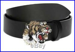 Brand New Mens Authentic Gucci Bronze Tiger Buckle Brown Leather Belt Size 90/36