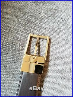 Brioni Men's Black and Brown Reversible Leather Belt Gold Buckle size 36