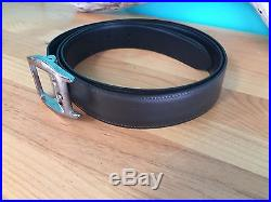 Cartier Mens Leather Belt with Reversible Silver Belt Buckle Brown Black 81-89