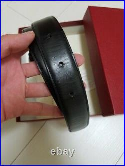 Cartier belt panther silver buckle black leather