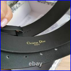 Christian Dior Belt Women & Men Black Leather CD Gold Buckle New Authentic