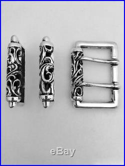 Chrome Hearts authentic double pin. 925 silver belt buckle