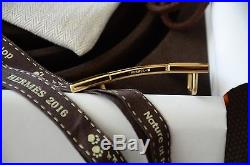 Classic 32mm Hermès belt kit BROWN WHITE H Gold Brushed Buckle Herme size 85