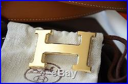 Classic 32mm Hermès belt kit BROWN WHITE H Gold Brushed Buckle Herme size 95