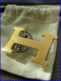 Classic HERMES 32MM Belt Buckle GOLD GUILLOCHE H With Pouch
