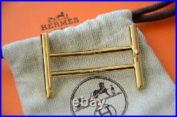 Classic HERMES 32MM Belt Buckle GOLD RIDER H With Pouch