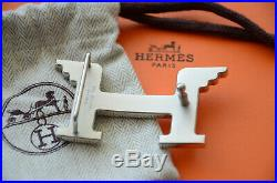 Classic HERMES 32MM Belt Buckle SILVER PEGASE Wings H With Pouch