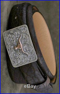 Clint Orms JewelryThe Men's Lee Sterling Silver with Rose Gold Longhorn Belt Buck