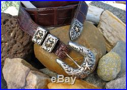 Clint Orms Pecos 1832 Engraved Sterling Silver Buckle Set 14-karat Gold Stars