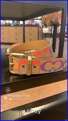 Coach men Roller Buckle Cut-To-Size Reversible Belt In Rainbow Signature Canvas