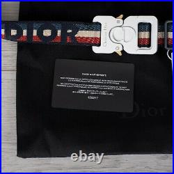DIOR 680$ 25mm Cotton Canvas Belt With Christian Dior Embroidery & CD Buckle