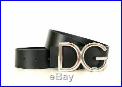 DOLCE & GABBANA men's belt in black leather with logo buckle BC4246