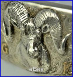 Edward Bohlin Sterling & 14k Gold Ram Big Horn Belt Buckle Bohlinmade Hollywood