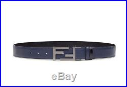 FENDI Reversible Navy and Black Leather Belt with Matt Buckle New